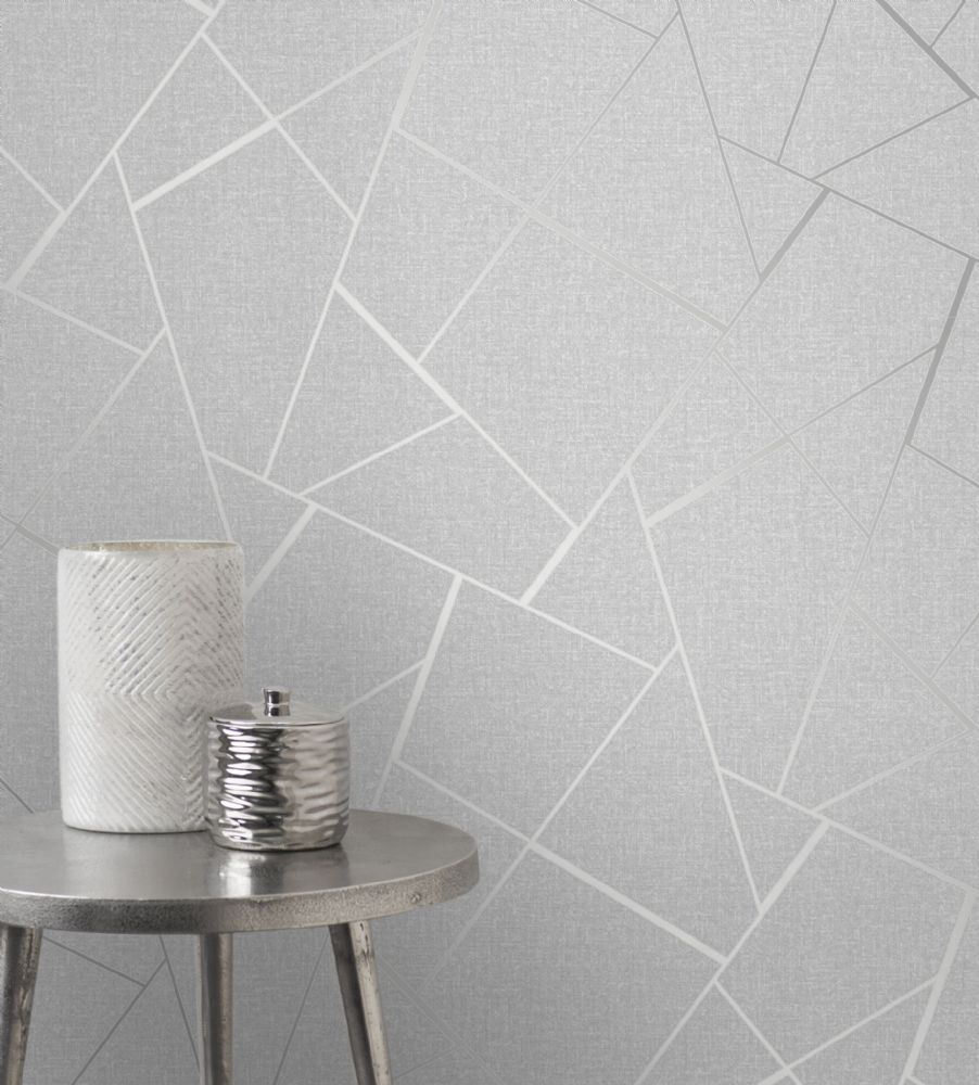 Fine Decor Quartz Fractal Silver FD42280 Wallpaper